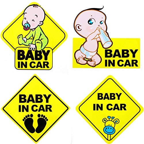 4 Piece Baby Board Sign Sticker for Car Baby in Car Decal Baby Kids Safety Signs Stickers Baby Car Sticker Baby Car Decal Reflective Kids Safety Warning
