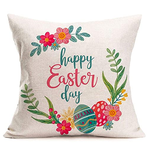 KSSTOO Cotton Linen Happy Easter Day Quote Throw Pillow Covers With Wreath Garland Flower Easter Eggs Retro Design Cushion Case 18x18 Inch Square Pillowcase Outdoor Decor (easter Day, 18'x18&qu