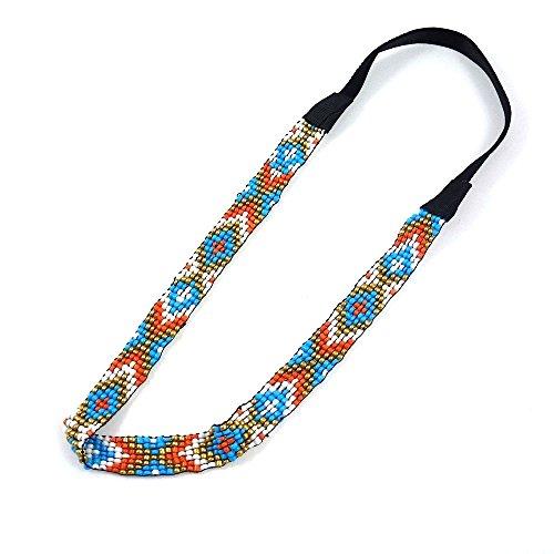 rougecaramel - Headband bandeau brésilien perlé - multicolore bleu/orangé
