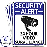 TICONN 4-Pack 24 Hour Video Surveillance Sign, Security Alert Aluminum Sign, 10x7 Inches Indoor/Outdoor Use for Home Business CCTV Security Camera, Reflective, UV Protected & Waterproof