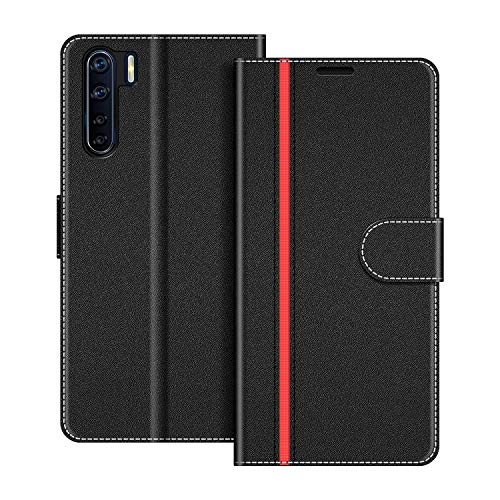 COODIO Oppo A91 Case, Oppo A91 Phone Case, Oppo A91 Wallet Case, Magnetic Flip Leather Case for Oppo A91 Phone Cover, Black/Red