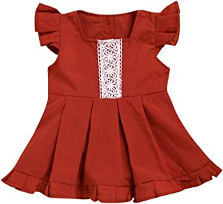 Baby Girl Party Dresses Red Lace Ruffle Slevee Dress Summer Jumpsuit Dress Sundress