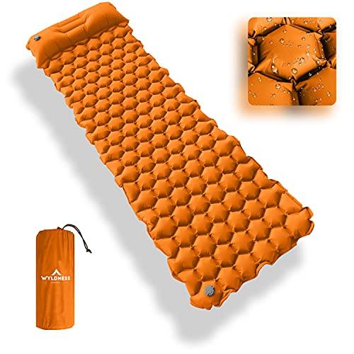 Cama de dormir inflable individual al aire libre con almohada incorporada y bolsa de almacenamiento - Colchón de aire ultraligero e impermeable para senderismo, camping, mochilero (naranja)