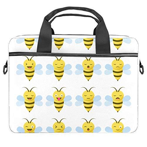 Inhomer Laptop Messenger Shoulder Bag Yellow Bee Pattern Notebook Sleeve Carrying Briefcase Handbag Briefcase