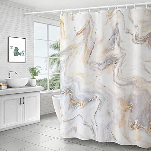 XCBN Shower Curtains Marbling Printed Modern Light Luxury Waterproof Fabric Polyester Bathroom Screen Shower Home Decor with Hooks A3 180x180cm
