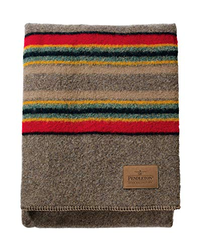 Pendleton Yakima Camp Thick Warm Wool Indoor Outdoor Striped Throw Blanket, Mineral Umber, Queen Size