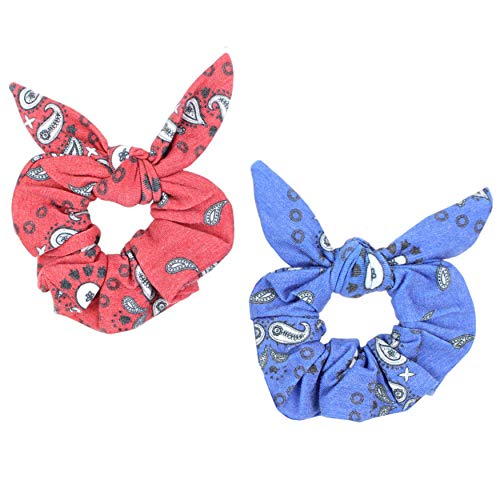 Maven Thread 2 Count Hair Scrunchies Elastic Hair Bands Scrunchy Hair Ties Accessories for Women or Girls Red and Blue BANDANA Set