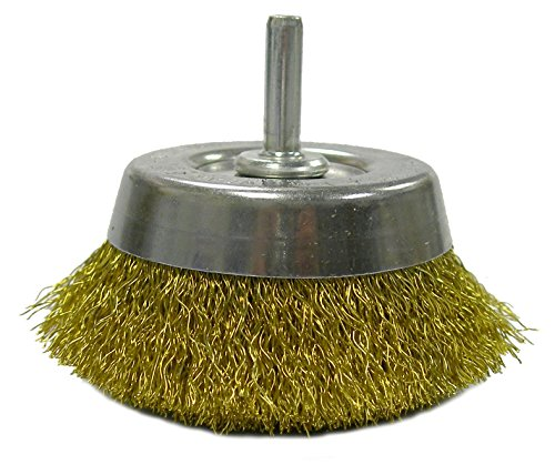 Weiler 14311 Crimped Wire Utility Cup Brush, 2-3/4', 0.118' Brass Fill, 1/4' Stem, Made in The USA