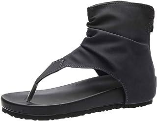 BIBOKAOKE Zomersandalen voor dames, platte sandalen, casual, teenslippers, suède, ritssluiting, ademend, comfortabel, grot...