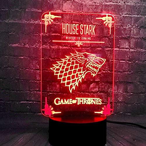 3D Ilusión Luz Nocturna 7 Colores Led Juego De Potencia Visual Wolf House Stark Logo Carga Usb Decoración Dormitorio Luna Lava Vacaciones Novio Diversión, Regalos Creativos Únicos Y Coloridos