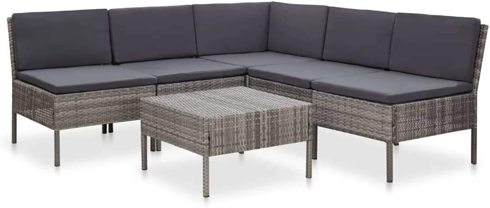 NusGear Free shipping on posting reviews 6 Piece Garden Lounge Free shipping Set with Poly Rattan Gray Cushions