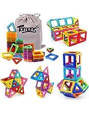 Tomons Magnetic Building Blocks Magnetic Tiles for Kids, Magnetic Blocks Stacking Blocks with Storage Bag - 56 PCS