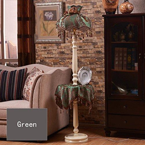 XIN Home staande lamp, staande led, creatieve luxe Europese stijl doek vloerlamp Amerikaanse stijl landelijke afstandsbediening met kleine tafel salontafel slaapkamer bedlampje woonkamer