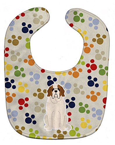 "Caroline's Treasures BB5864BIB Pawprints Saint Bernard Baby Bib, 10 x 13"", multicolor"