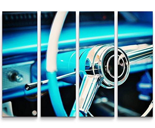 Paul Sinus Art blaues Lenkrad – Oldtimer - 4 teiliges Canvas Bild 4x30x90cm