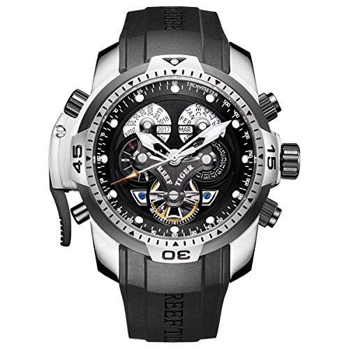 REEF TIGER Herren Uhr analog Automatik mit Kautschuk Armband RGA3503-YBBB