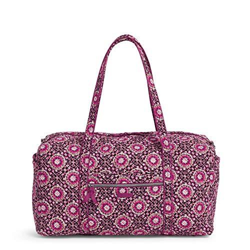 Vera Bradley Women's Signature Cotton Large Travel Duffel Travel Bag, Raspberry Medallion, One Size