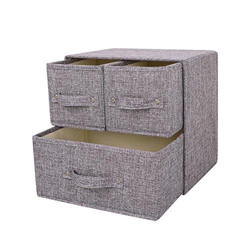 YINGGG Stoff Aufbewahrungsbox Aufbewahrungsbehälter mit Griff Schublade Organizer mit Deckel Faltbare Box Behälter für Socken, Unterwäsche, BHs, Krawatten, Schals, 1...