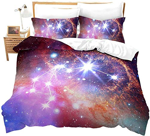 RONGXIE Duvet Cover Single - Washed Microfiber Bed Cover With Zipper Closure & Corner Ties, Breathable Soft Hypoallergenic 3 Piece Duvet Covers Set- Purple Galaxy Outer Space Aquarius Landscape - Do