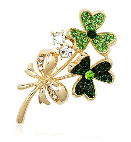 Akianna Gold-tone Swarovski Element Crystals St Patricks Day Bunched Three Leaves Clover Pin