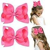 DEEKA 2 PCS 6' Big Hand-made Grosgrain Ribbon Solid Color Hair Bows Alligator Clips Hair Accessories for Little Teen Toddler Girls Kids Set of 2 -Hot Pink