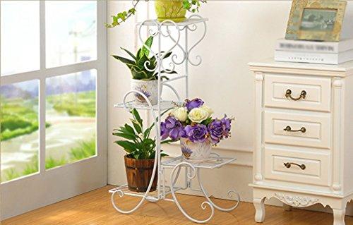 DFHHG® Porte-fleurs, salon de fer balcon intérieur Atterrissage Porte-pot à fleurs Forme de style européen Couches multiples Étagère à fleurs Support de fleur américain ( Couleur : Blanc , taille : 50*26*80cm )
