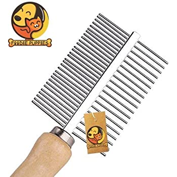 Foodie Puppies Wooden Handle Steel Needles Pet Rake Hairbrush Grooming for Dogs and Cats