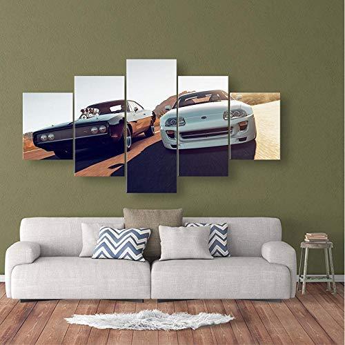 TXFMT Geen frame canvas decoratie schilderij handgemaakte DIY Canvas schilderij HD print 5 retro sport auto racen foto's nachtkastje huisdecoratie muur kunst poster foto's schilderijen op canvas muur kunst klaar t 200*100CM