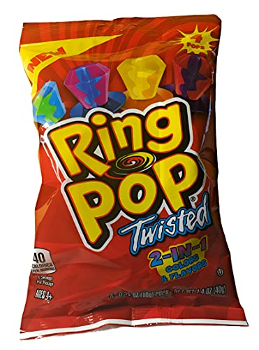 (1) 1.4 oz Bag Ring Pop Twisted 2-in-1 Colors and Flavors Candy Rings (Flavors Include Berry Blast, Cherry Berry, Citrus Craze and Blue Raspberry Watermelon) Bag Includes (4) .35 oz Ring Pops