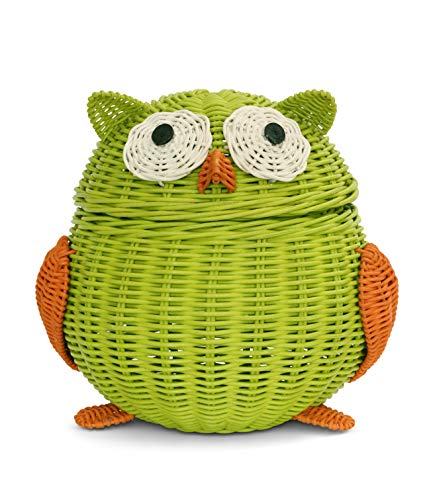 G6 COLLECTION Owl Rattan Storage Basket With Lid Decorative Bin Home Decor Hand Woven Shelf Organizer Cute Handmade Handcrafted Nursery Gift Animal Art Decoration Artwork Wicker Owl (Large, Green)