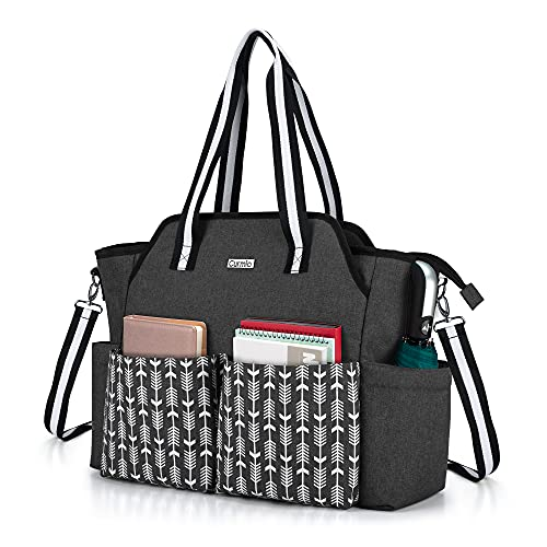 CURMIO Teacher Work Bag for Women, Portable Teacher Utility Tote Bag with Padded Laptop Sleeve, Black with Arrow