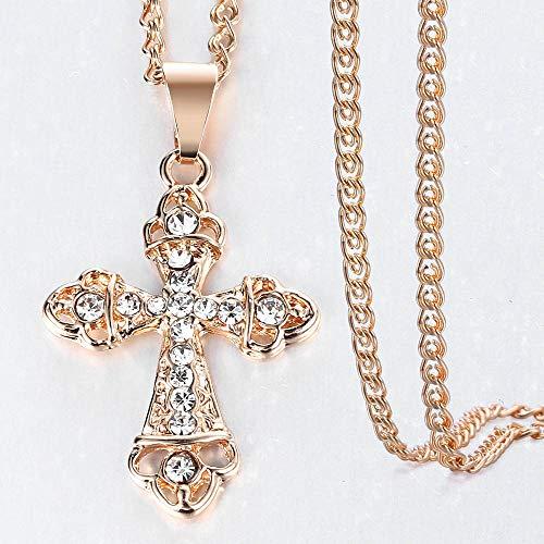 Revilium Collar Colgante Crucifijo Cross para Mujeres Hombres 585 Rosa Oro Caracol Eslabón Cadena Cruzada Collar Joyería De Moda 50Cm