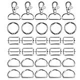 FVCENT 40 anillos en D deslizantes con 4 patrones para ajustar el cinturón de giro, giratorio, gancho de presión para bricolaje, bolso, mochila, correa de accesorios