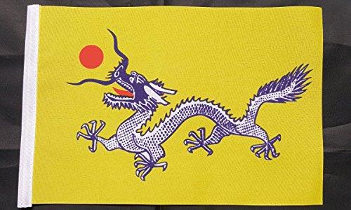 Mini Drapeau de dragon chinois – (22,9 x 15,2 cm) environ 22 cm x 15 cm Polyester avec manchon Petite