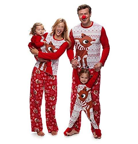 Pijamas Dos Piezas Familiares de Navidad, Conjuntos Navideños de Algodón para Mujeres Hombres Niño Bebé, Ropa para Dormir Otoño Invierno Sudadera Chándal Suéter de Navidad-Mujer