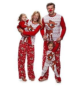Pijamas Dos Piezas Familiares de Navidad, Conjuntos Navideños de Algodón para Mujeres Hombres Niño Bebé, Ropa para Dormir Otoño Otoño Invierno Sudadera Chándal Suéter de Navidad-Hombre