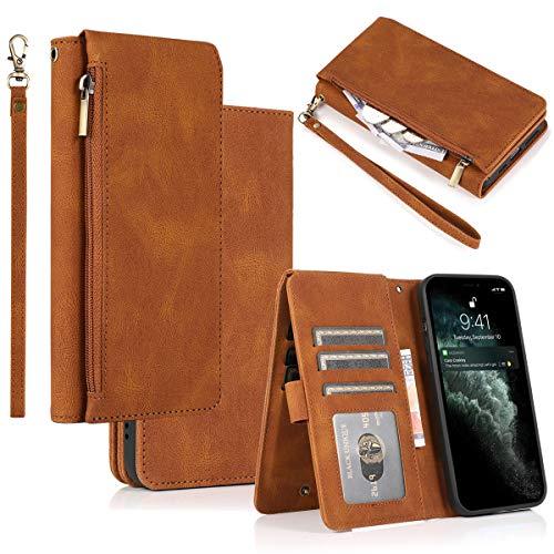 Gift_Source iPhone 6S Plus Funda, [marrón] Carcasa Billetera Protectora de Funda Cremallera Cartera Cuero de PU Cases con Ranuras para Tarjetas y Soporte Plegable para iPhone 6S+/6S Plus/6 Plus 5.5'