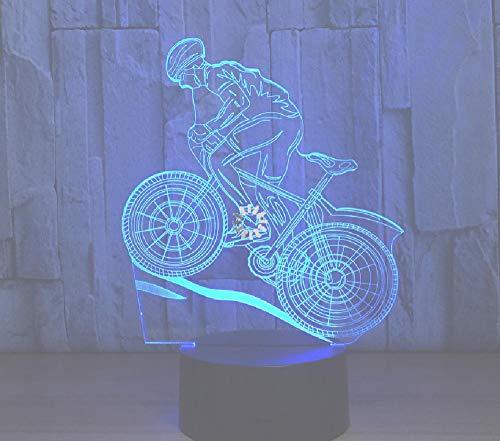 Usb 3D-ledlamp, mountainbike, 3D, nachtlampje, slaaplamp, als decoratie, cadeau voor vrienden, afstandsbediening, bluetooth-besturingskleur