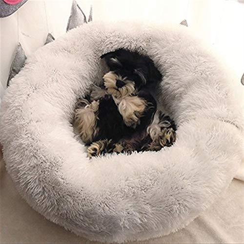 FENXIMEI slaapzak lange pluche puppy kussen mat draagbare kat benodigdheden super zacht huisdier bed kennel hond winter warm 46/50/60cm, 80, Kleur: wit
