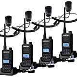 Retevis RT85 Dual Band 2 Way Radio, Long Range Ham Amateur, Professional Walkie Talkie with Speaker Mic, Portable Radio with Alarm, for Security, Manufacturing, Back to School Office(Black, 4Pcs)