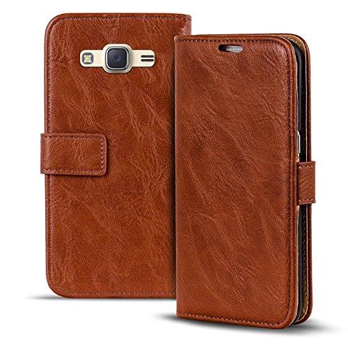 Conie RW30428 Retro Wallet Kompatibel mit Samsung Galaxy J1 2016, Klapphülle Tasche Vintage Leder Design für Galaxy J1 2016 Etui mit Kartenfächer Kastanienbraun