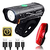 SUPERSTA USB Rechargeable Bike Light Set 600 High lumen Front and Rear Bicycle Safety Lights Super Bright LED...