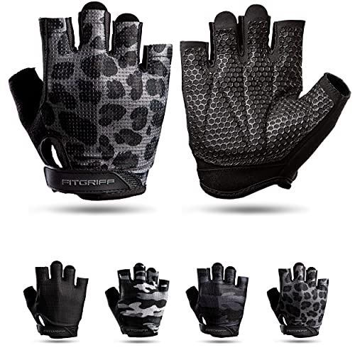 Fitgriff® Guantes de Gimnasio V3 - Hombre y Mujer - para Gym, Fitness, Deporte, Entrenamiento, Powerlifting, Levantamiento de Pesas - Antideslizante - Workout Gloves (Leopard, Size 6)