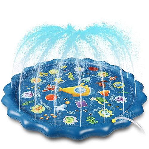 Splash Pad, 170cm Sprinkler Play Matte, Wasserspielzeug Spielmatte Sommer Wasser Spielzeug Sprinklerpool für Kinder, Baby, Haustiere