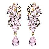 BriLove Wedding Bridal Clip On Earrings for Women Bohemian Boho Crystal Flower Chandelier Teardrop Bling Long Dangle Earrings Pink Tourmaline Color Gold-Toned