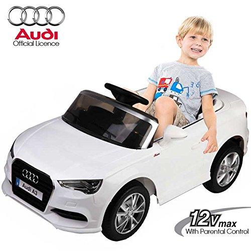 BAKAJI Auto Elettrica per Bambini 12 Volt Audi A3 Bianca con Suoni Luci Fari LED Lettore MP3 2 velocità Fino a 7 Km/h Sedile in Pelle Ammortizzatori + Radiocomando Parentale Licenza Ufficiale Audi