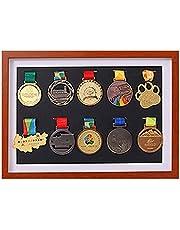 J&X medaillenhouder, race bib medaillen-display vitrine met houten frame, medaillenframe voor of loopmedaille oorlogmedaille houten vitrine voor vitrine voor orden en erekentekens (10 medaille)
