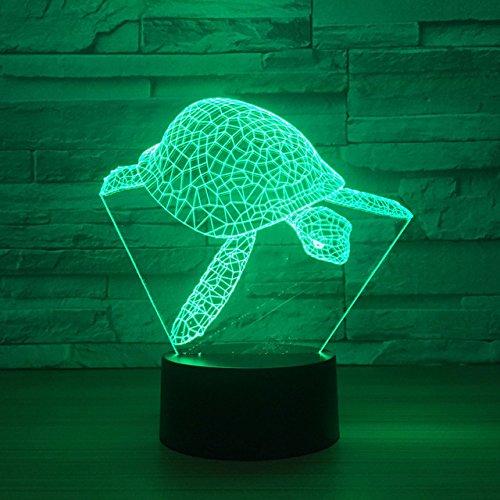 Jinson well 3D schildkröte Lampe optische Illusion Nachtlicht, 7 Farbwechsel Touch Switch Tisch Schreibtisch Dekoration Lampen perfekte mit Acryl Flat ABS Base USB Kabel Spielzeug
