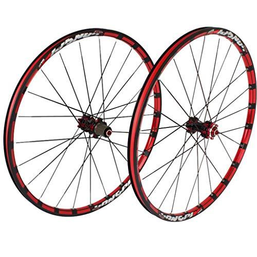 M-YN Juego Ruedas Bicicleta, 26/27.5 Montaña Ruedas Pulgadas Set 5 rodamientos 120 Anillos Recto Tire del Freno de Disco de Bicicletas Juego de Ruedas (Color : Black+Red, Size : 26inch)