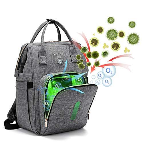 Baby Wickelrucksack mit Ozon-Desinfektion, Baby-Wickeltasche, Rucksack, multifunktional, große Kapazität, Reiserucksack für Babypflege (grau)